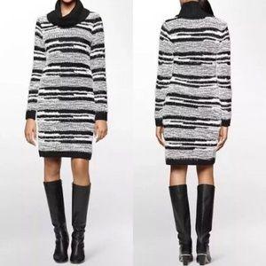 Calvin Klein Striped Cowl Neck Sweater Dress